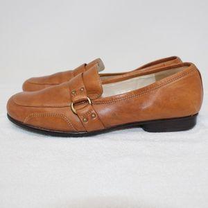 Circa Joan David Brown Leather Loafer Shoes Sz 8.5